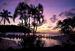 The sun setting over the cove in St. Lucia