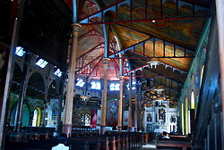 The Cathedral of the Immaculate Conception's ornate interior filled with colourful biblical scenes