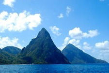 Sailing towards The Pitons, the most photographed landmark on the island