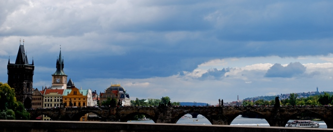 Looking across at Charles Bridge and Prague Castle