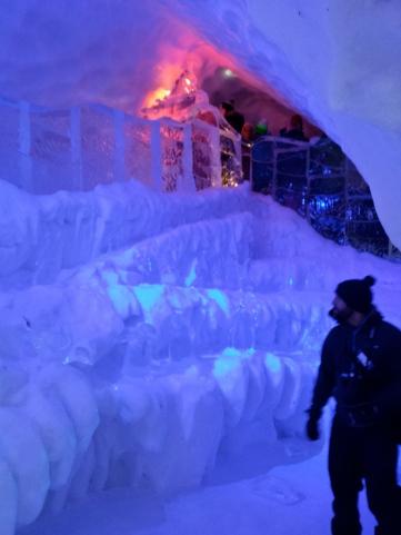 The hotel's ice slide
