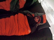 All bundled up for my icy sleep!