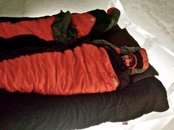 All bundled up in my sleeping bag