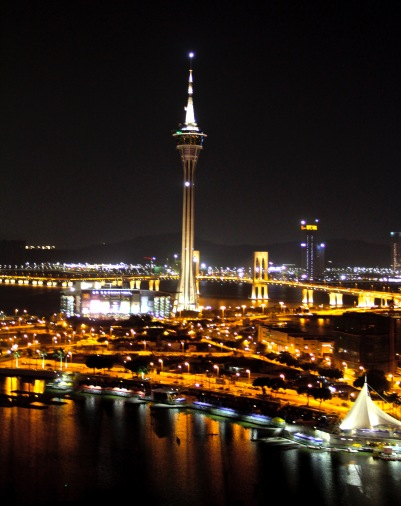 View of the Macau Tower at night