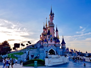 Sleeping Beauty Castle at sunset