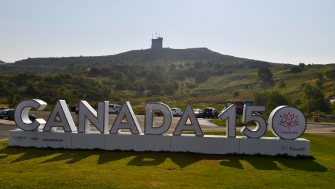 Canada 150, with Cabot Tower in the background.