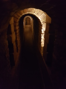 The underground tunnels, leading in and out of the Catacombs