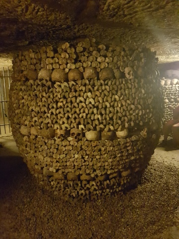 A wide pillar of bones in the Catacombs