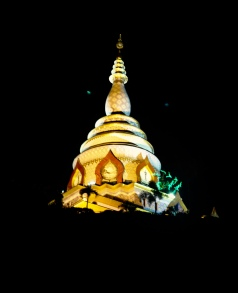 The Chedi Kaew all lit up at night