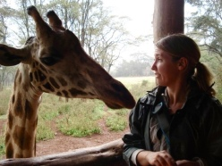 Having a moment with this giraffe at the Giraffe Centre in Langata, Kenya.