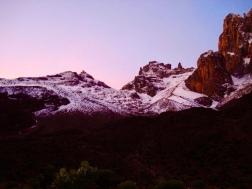 The sun rising over Mt. Kenya