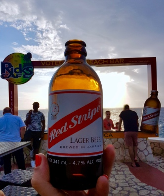 Enjoying a Red Stripe at Rick's Cafe