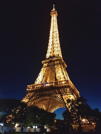 The Eiffel Tower all lit up at night