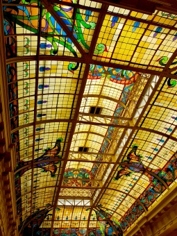 Beautiful stained glass ceiling at the Mario Vargas Llosa library